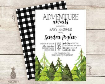 Pine Tree Adventure - Themed Baby Shower Invitations