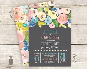Chalkboard Floral Gender Reveal Invitations