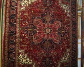 1990s Hand-Knotted, Heriz Style, India Rug, Room-Sized 9x12 (1117)