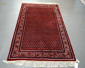 1980s Hand-Knotted Vintage Indo-Mir-Sarouk Rug (1579)