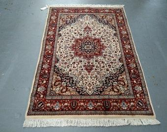 1980s Vintage, Hand-Knotted, Indo-Tabriz Rug (1500)