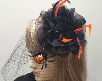 Halloween Headpiece, Spider Fascinator, Spider Costume, Black and Orange Halloween Hat