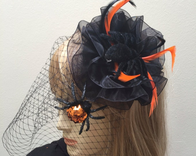 Halloween Headpiece, Spider Fascinator, Spider Costume, Black and Orange Halloween Hat