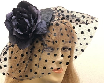 Black Flower Fascinator with Polka Dot Veil, Small Church Hat, Kentucky Derby Hat