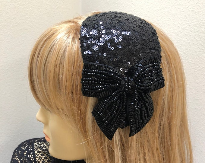 Small Black Bow Sequin Fascinator with a Retro Vibe