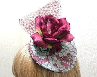 Burgundy Fascinator, Small Cocktail Hat, Rose Hatinator
