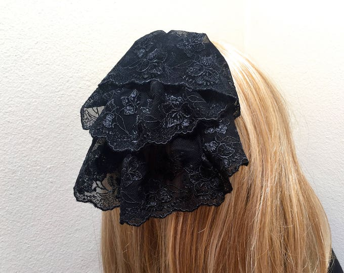 Black Lace Head Covering, Black Chapel Cap, Catholic Lace Veil