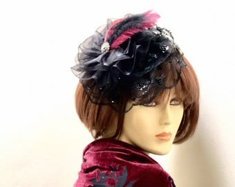Kentucky Derby Burgundy Fascinator, Black Lace Church Hat, Burgundy Feather Fascinator,