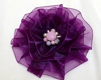 Purple Magnetic Brooch, Purple Fabric Flower Pin, Plum Brooch Corsage
