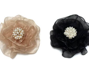 Fabric Lapel Pin, Mini Magnetic Brooch, Champagne Flower Brooch
