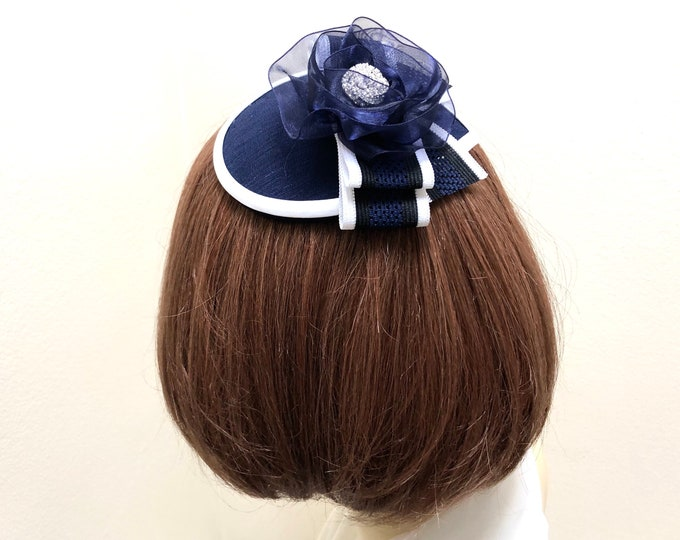 Navy Blue and White Kippah, Navy and White Yarmulke,  Dark Blue Head Cover, Navy Small Hat