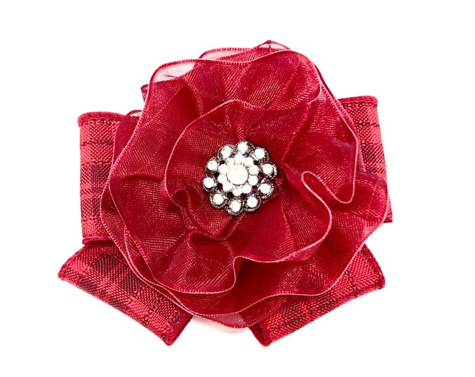 Red Plaid Magnetic Brooch, Red Bow Brooch. Red Plaid Shawl Pin, Plaid Fabric Flower