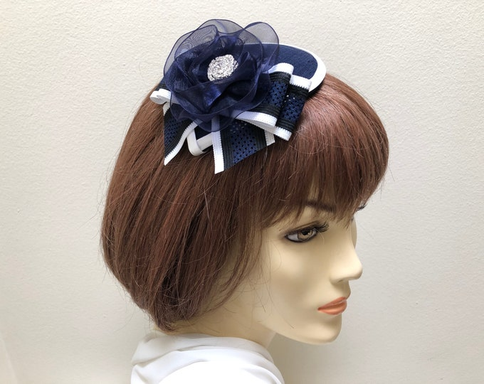 Navy Blue and White Fascinator, Navy and White Church Hat,  Dark Blue Small Hat