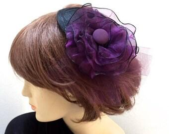 Purple Fascinator, Purple Hat, Black and Purple Cocktail Hat, Purple Bridesmaid Hat