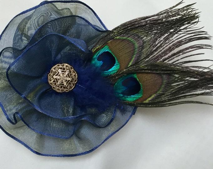 Peacock Corsage, Blue Peacock Brooch, Blue Peacock Wedding