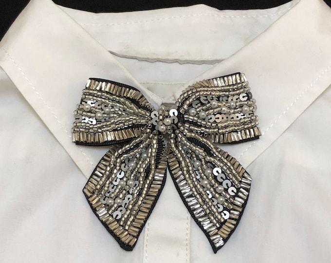 Silver Bow Tie, Beaded Silver Magnetic Brooch, Woman's Necktie Neckwear