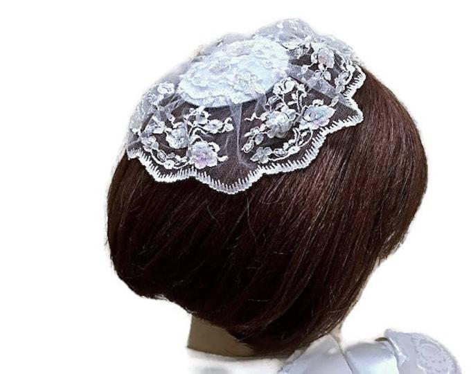 Large White Lace Yarmulke Jewish Head Covering Lace Kippah