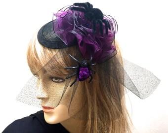 Halloween Fascinator, Purple Spider Fascinator, Halloween Headpiece, Black Widow Fascinator