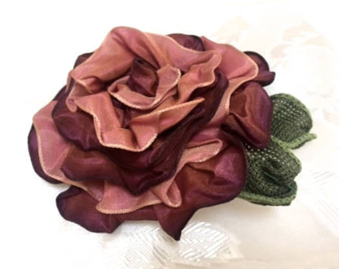 Fabric Rose Magnetic Brooch, Flower Shawl Pin, Rose Corsage