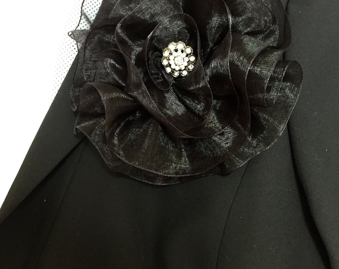 Large Black Magnetic Brooch, Black Fabric Flower, Magnetic Jewelry
