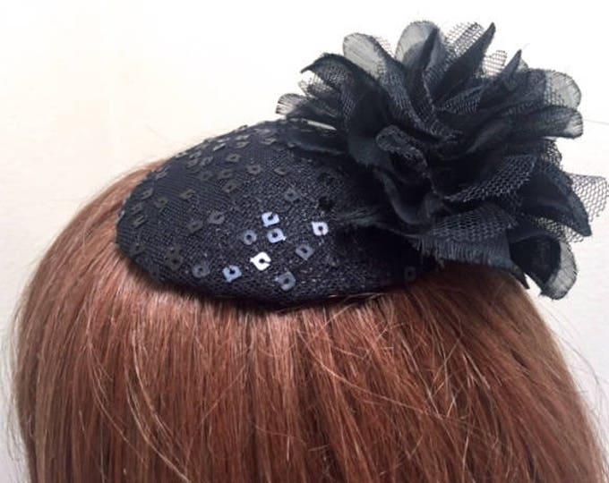 Black Sequin Kippah Fascinator, Fancy Black Kippah, Black Yarmulke