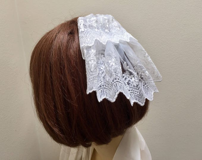 Christian Head Cover, White Lace Doily, Lace Head Covering, Chapel Veil
