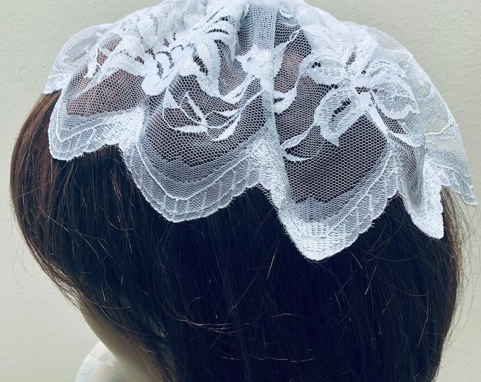 White Lace Chapel Cap, Women's Lace Head Covering, White Doily