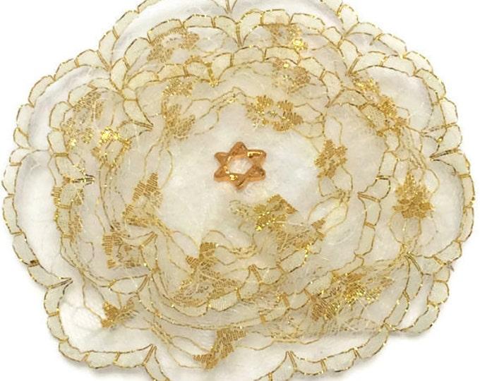 White and Gold Lace Kippah, Gold Lace Yarmulke, Women's Kippah