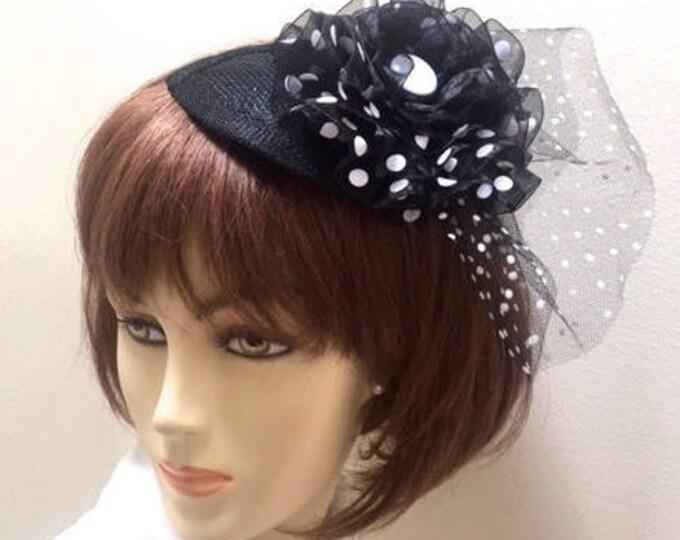 Black and White Polka Dot Fascinator, Polka Dot Small Hat, Black Derby Hat