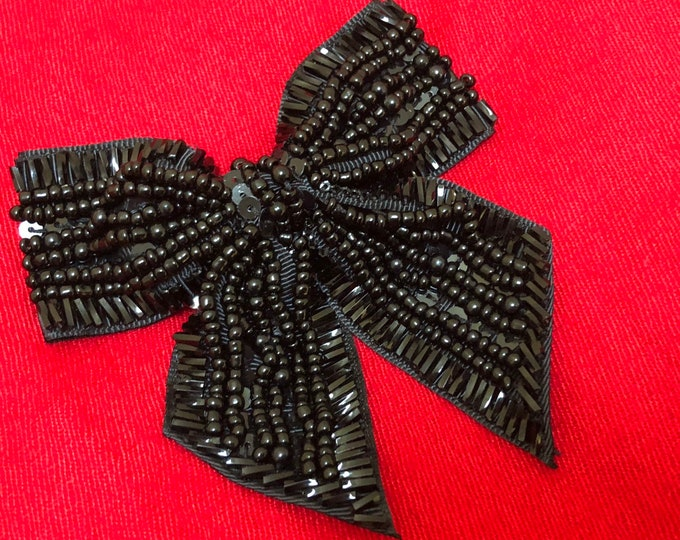 Woman's Black Bead Bow Pin Magnetic Brooch
