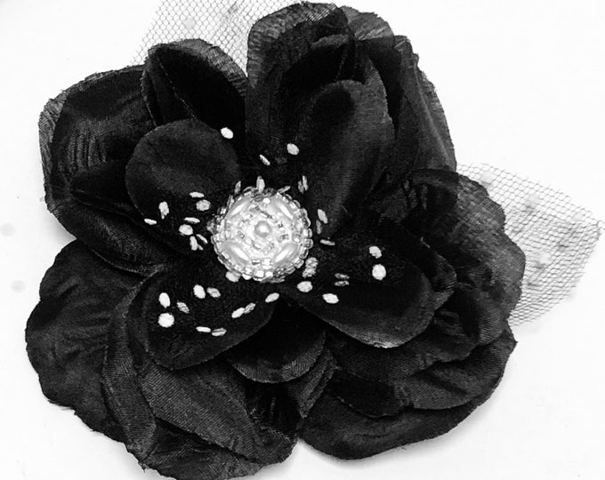 Black and White Brooch, Black Magnetic Pin, Rose Brooch