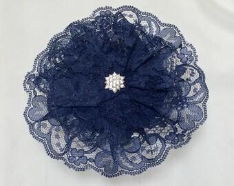 Navy Lace Kippah, Women's Dark Blue Yarmulke