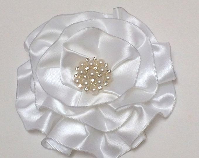 White Satin Magnetic Corsage, Bridal Corsage, Satin Sash Flower