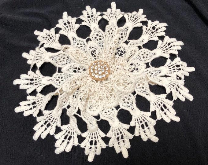 Crochet Lace Doily, Ivory Lace Kippah for Women, Beige Yarmulke