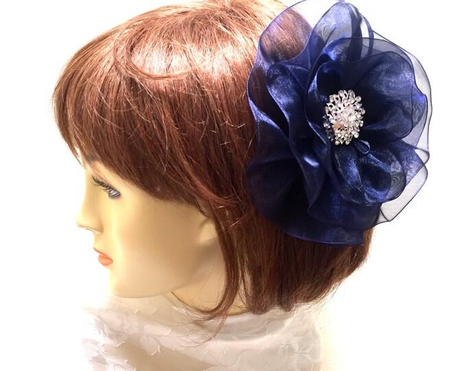 Navy Flower Fascinator, Large Navy Hair Flower, Navy and White Flower. Large Navy Flower, Navy Blue Hair Clip