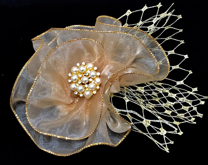 Fabric Flower Gold and Champagne Corsage, Gold Magnetic Brooch