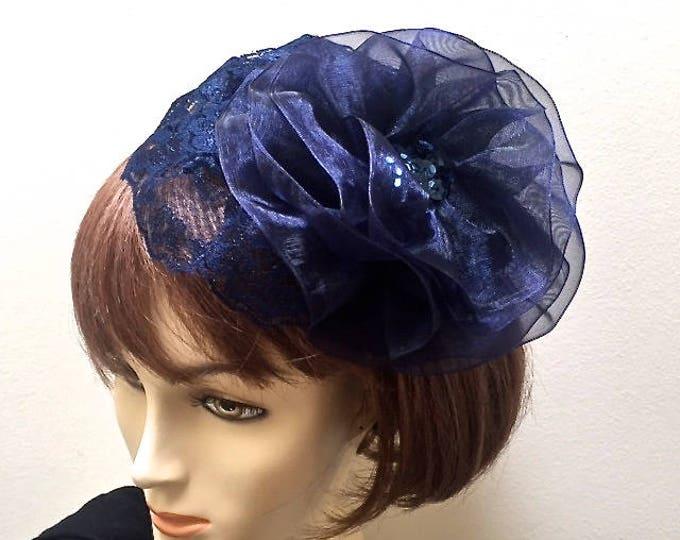 Navy Lace Fascinator, Navy Church Hat, Navy Kippah