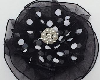 Black and White Polka Dot Corsage, Magnetic Brooch, Polka Dot Brooch