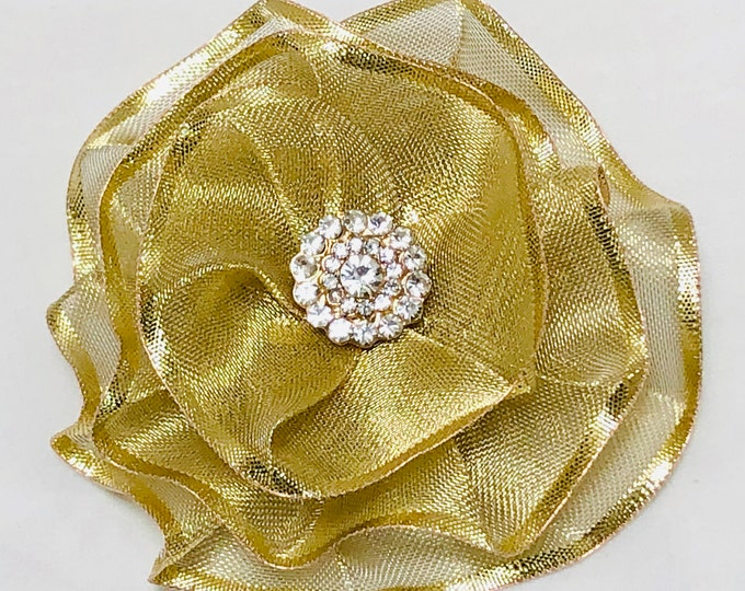 Mother's Day Corsage, Gift For Her, Gold Fabric Flower Pin, Magnetic Corsage