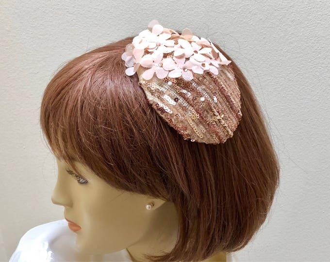 Rose Gold Kippah Fascinator, Rose Gold Small Hat, Rose Gold Sequin Hat