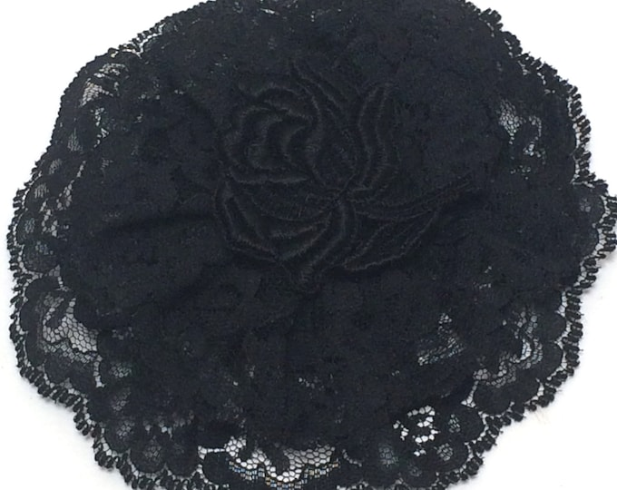 Black Lace HeadCovering,  Black Lace Doily, Religious Hair Cover, Lace Church Hat