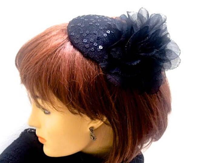 Black Cocktail Hat, Little Black Hat, Church Hat, Sequin Fascinator, Funeral Hat