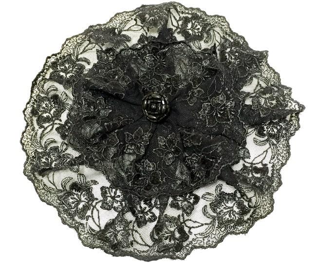 Black Lace Chapel Cap Head Covering, Black Lace Doily Church Hat
