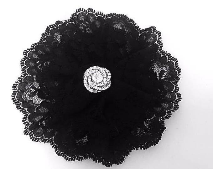 Black Lace Kippah for Women Rhinestone Yarmulke Women's Kippot