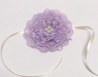 Lavender Lace Baby Kippah, Girl's Kippot, Baby Yarmulke, Lace Kippah