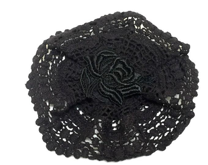Black Crochet Yarmulke, Crochet Kippah, Women's Black Kippot