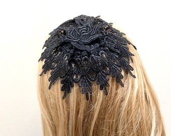 Black Lace Church Hat, Lace Head Covering, Doily Head Cover, Hair Cover