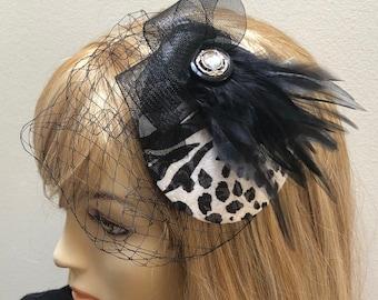Animal Print Fascinator, Black and White Leopard Small Hat, Zebra Fascinator