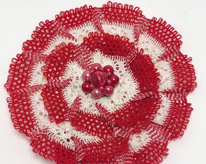 Ivory and Red Kippah, Crochet Kippot, Women's Red Yarmulke
