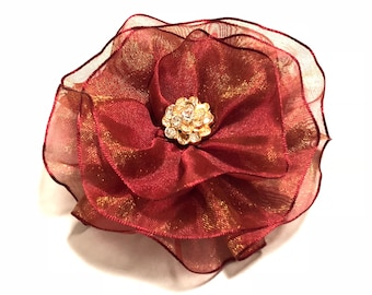 Red Mother's Day Corsage, Mothers Day Brooch, Red Magnetic Corsage